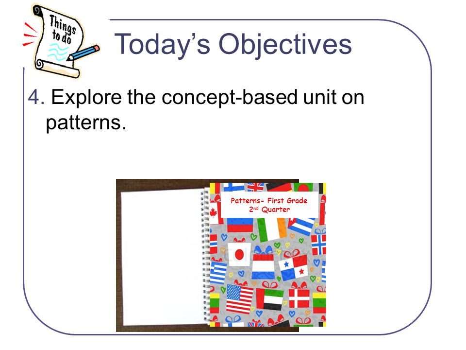 Today's Objectives 4. Explore the concept-based unit on patterns.