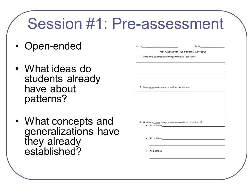 Session #1: Pre-assessment