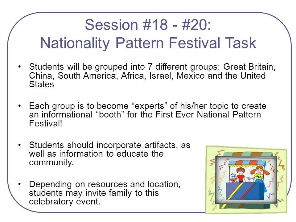 Session #18 - #20: Nationality Pattern Festival Task