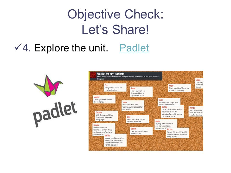 Objective Check: Let's Share!