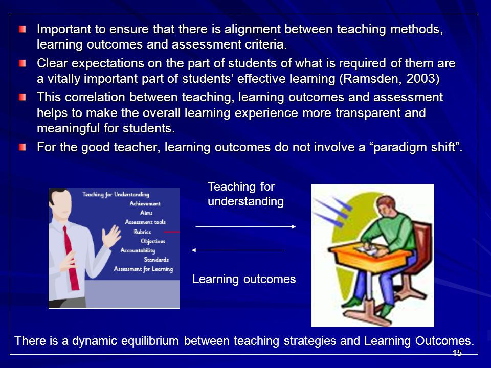 Important to ensure that there is alignment between teaching methods, learning outcomes and assessment criteria.