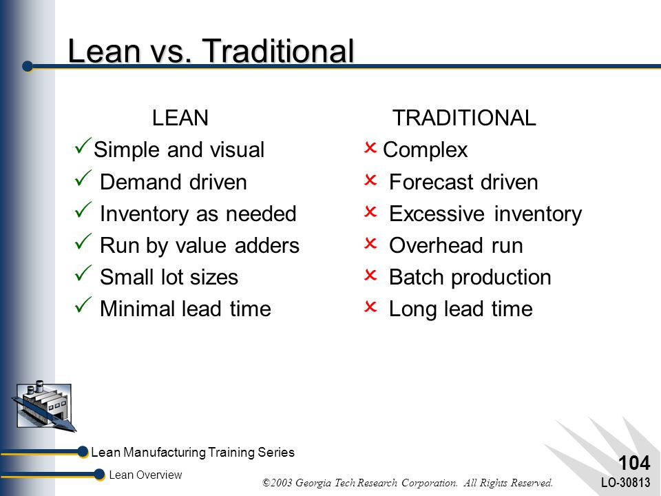Lean vs. Traditional LEAN Simple and visual Demand driven