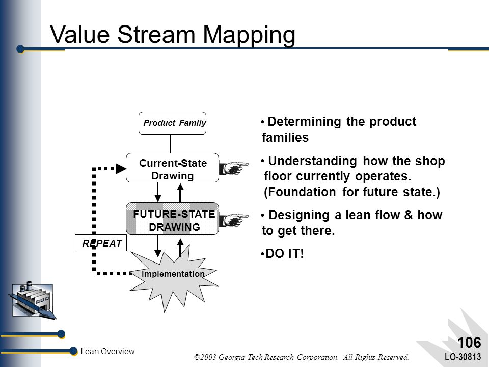 Value Stream Mapping • Determining the product families •