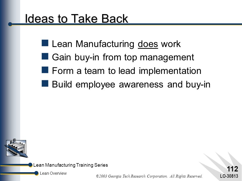 Ideas to Take Back Lean Manufacturing does work