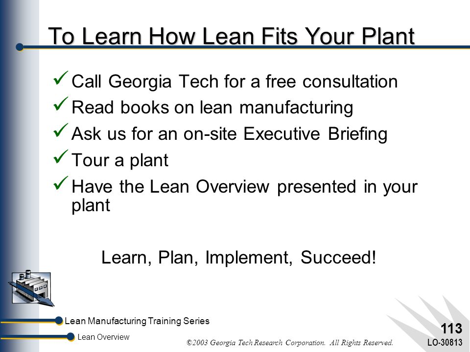 To Learn How Lean Fits Your Plant