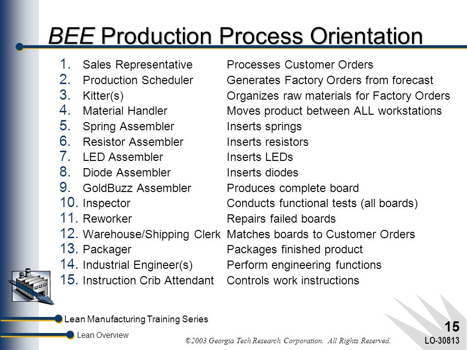 BEE Production Process Orientation