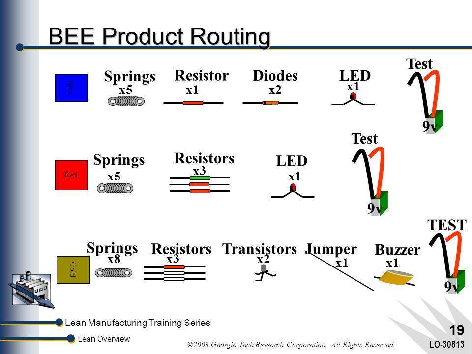 BEE Product Routing Test 9v Springs Resistor Diodes LED Test 9v