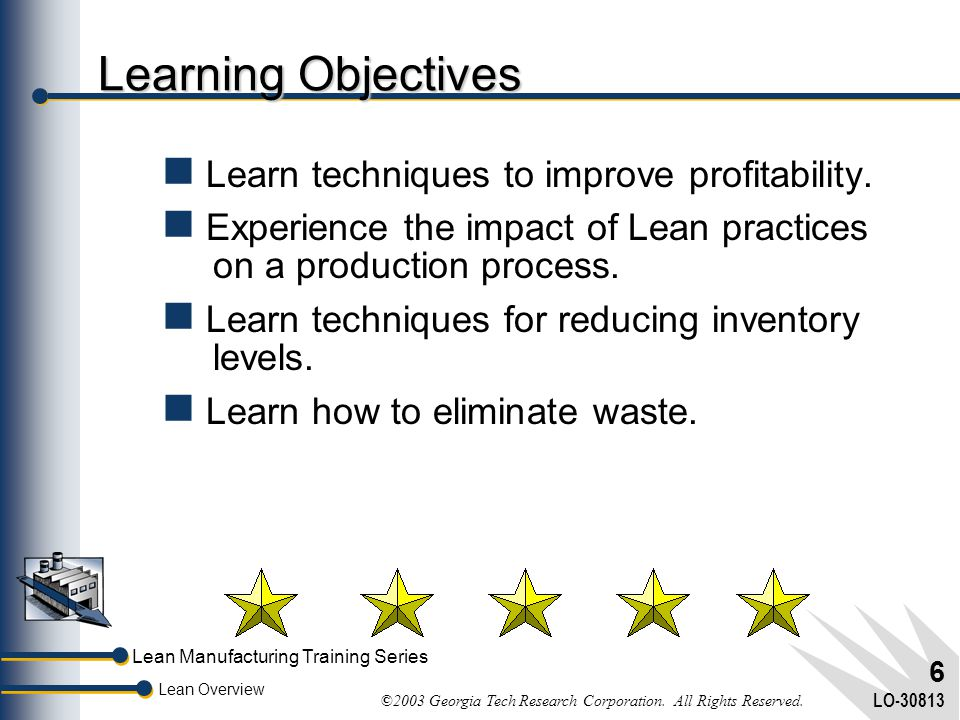 Learning Objectives Learn techniques to improve profitability.