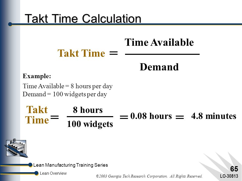 = = Takt Time Calculation Time Available Takt Time Demand Takt Time