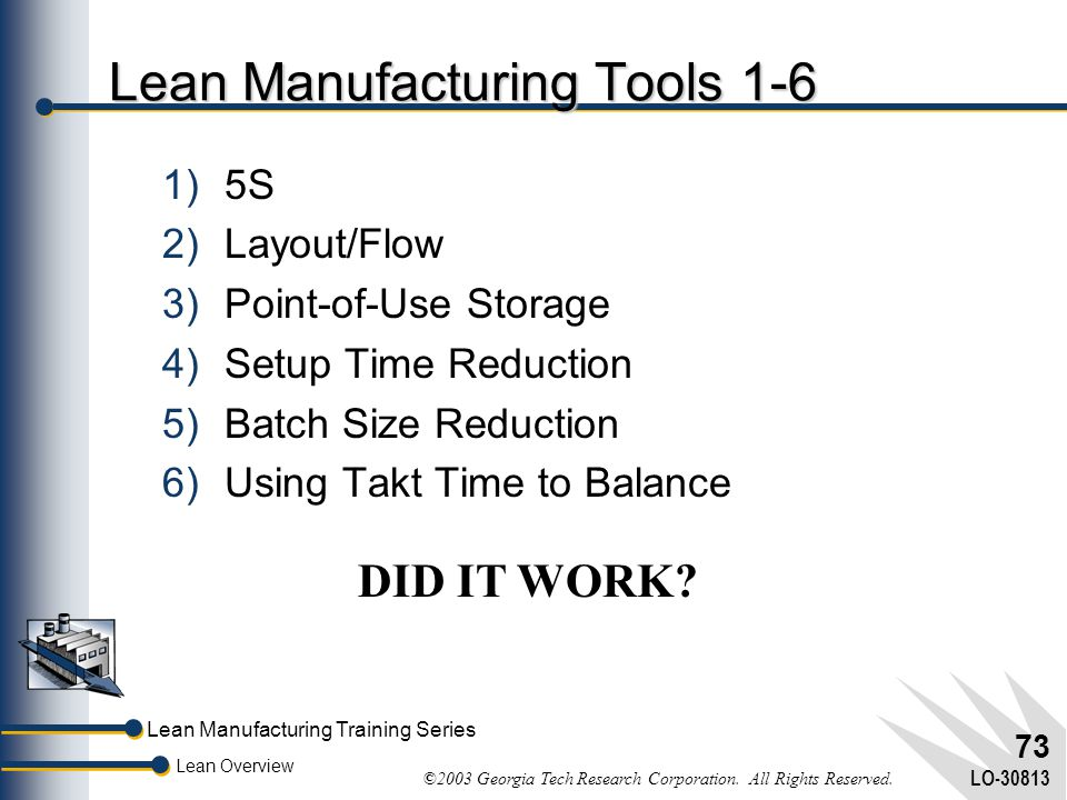 Lean Manufacturing Tools 1-6