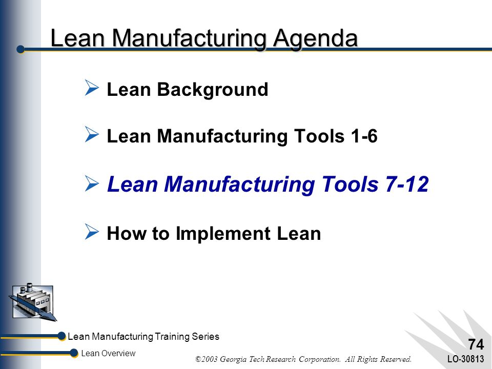 Lean Manufacturing Agenda