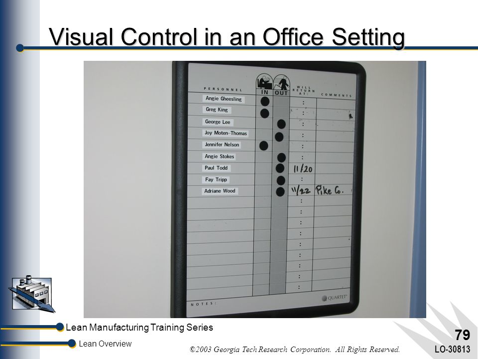 Visual Control in an Office Setting