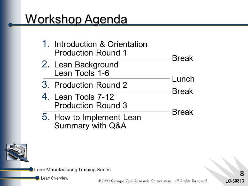 Workshop Agenda Introduction & Orientation Production Round 1