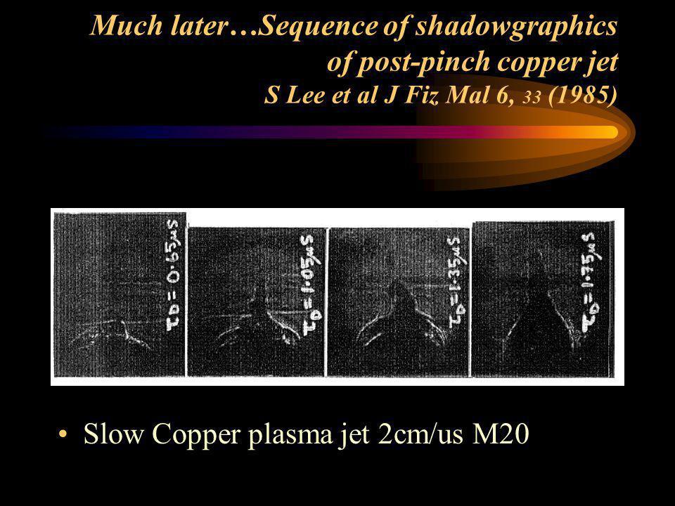 Slow Copper plasma jet 2cm/us M20