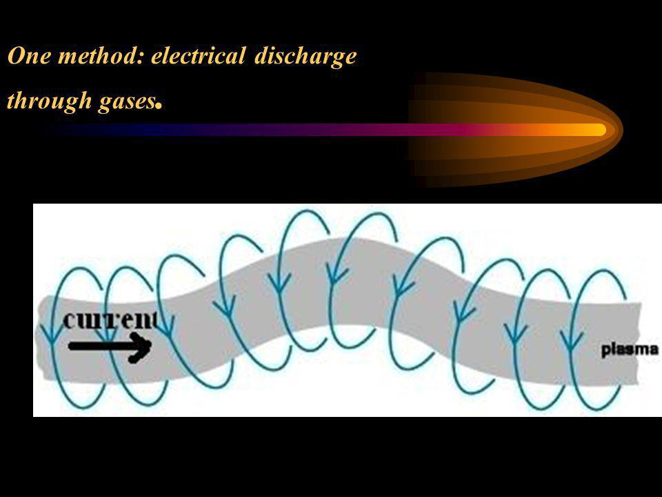 One method: electrical discharge through gases.