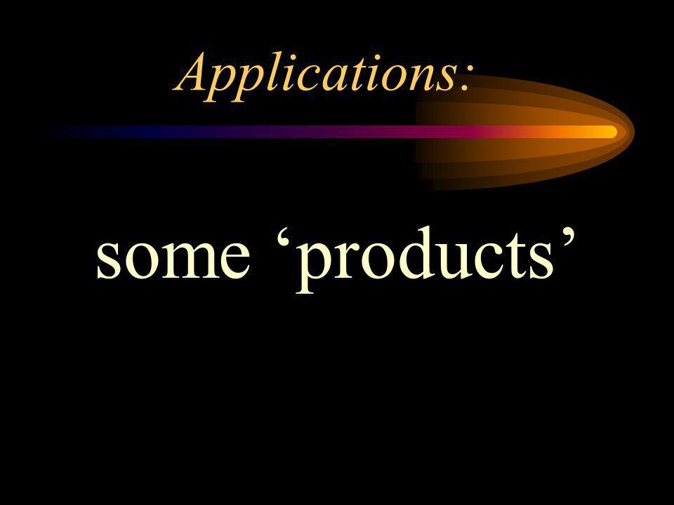 Applications: some 'products'