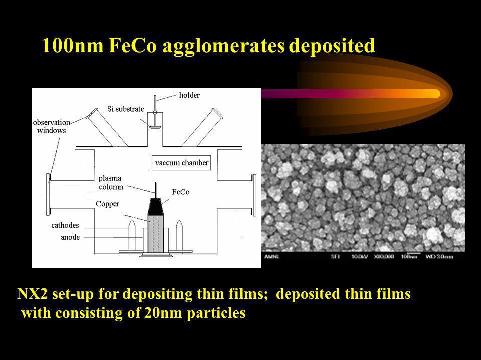 100nm FeCo agglomerates deposited