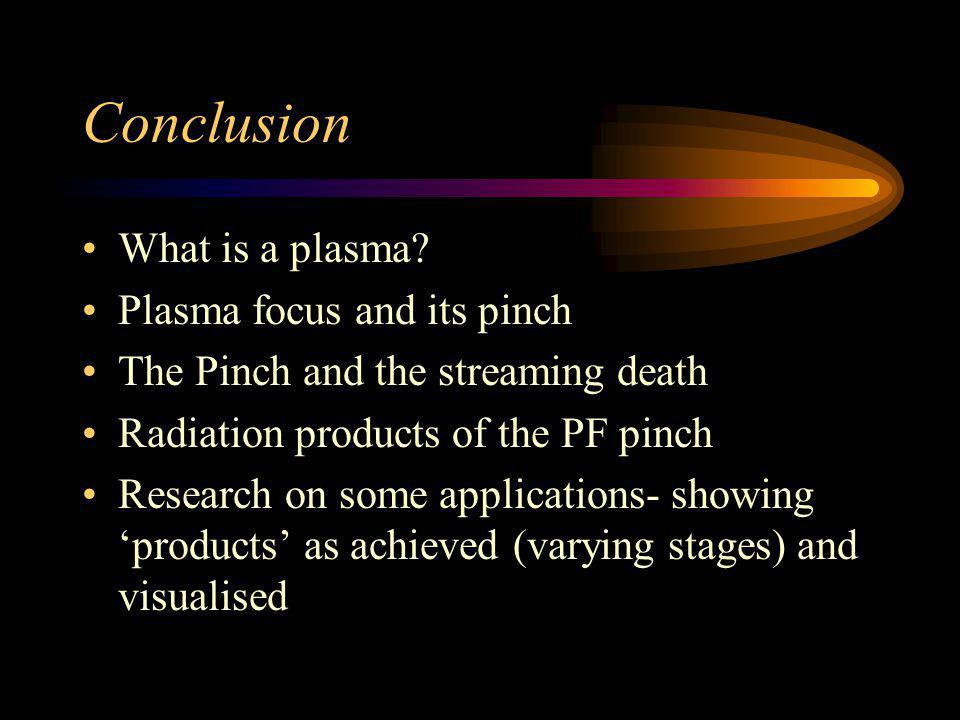 Conclusion What is a plasma Plasma focus and its pinch