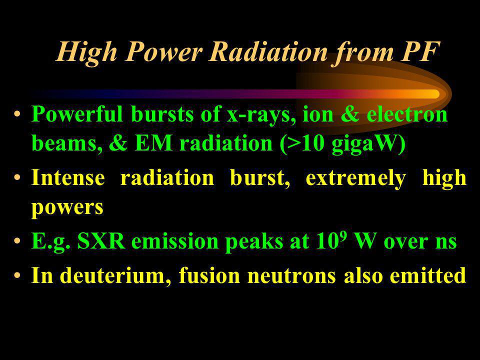 High Power Radiation from PF