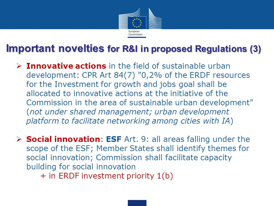 Important novelties for R&I in proposed Regulations (3)