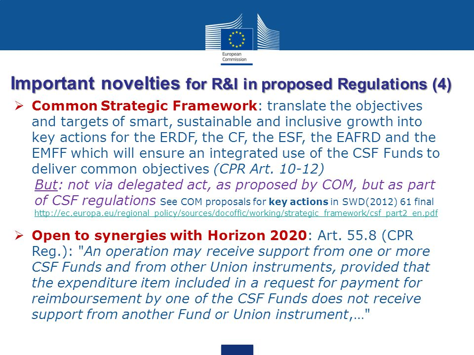 Important novelties for R&I in proposed Regulations (4)