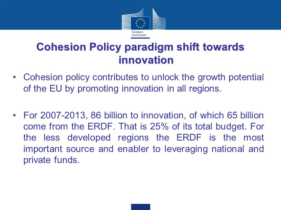 Cohesion Policy paradigm shift towards innovation