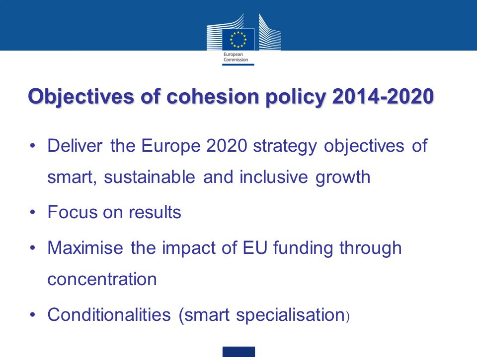 Objectives of cohesion policy 2014-2020