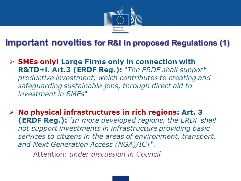 Important novelties for R&I in proposed Regulations (1)