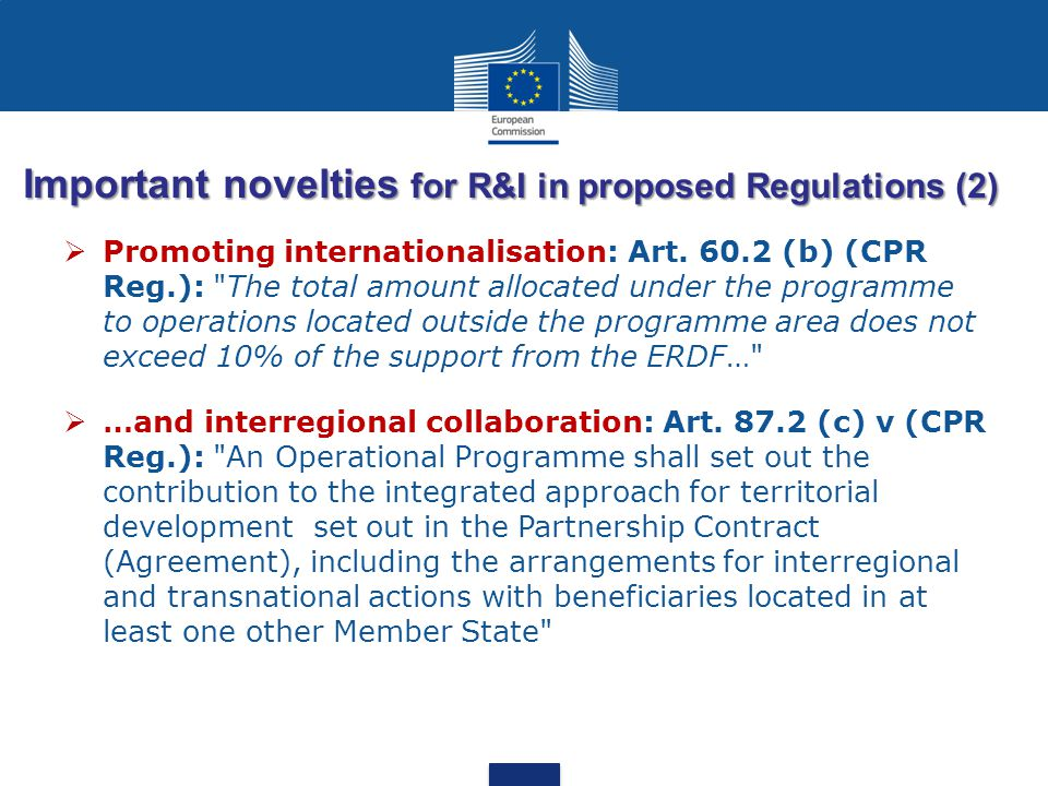 Important novelties for R&I in proposed Regulations (2)