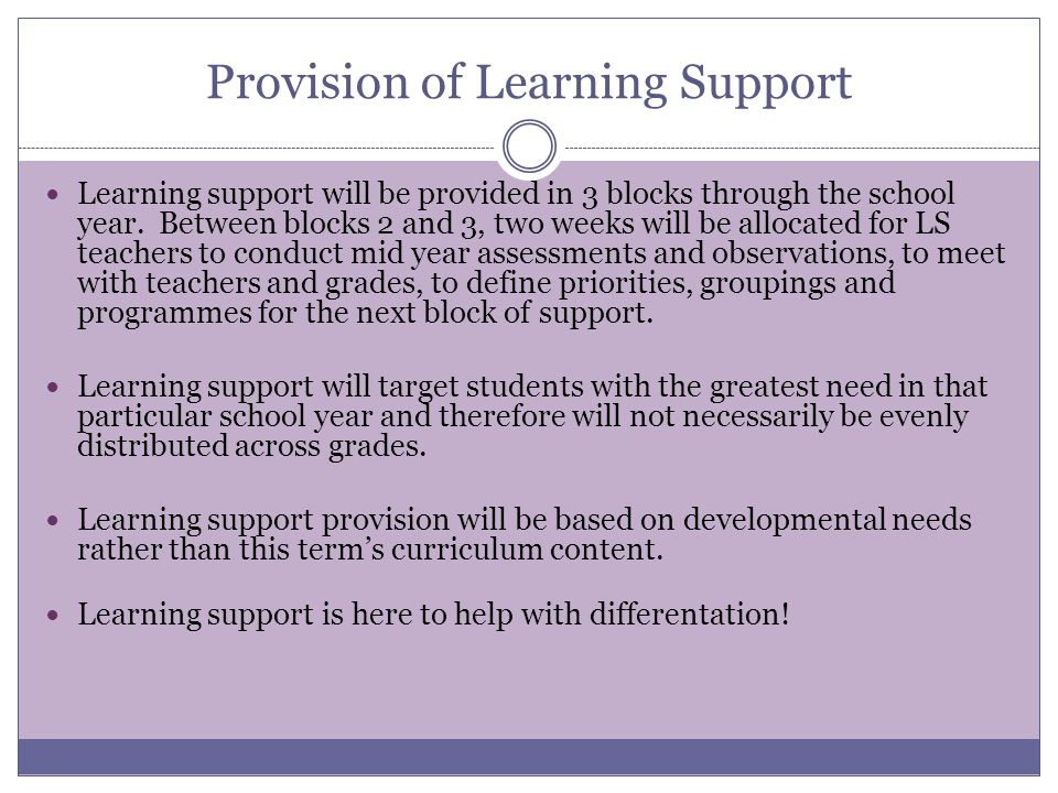 Provision of Learning Support
