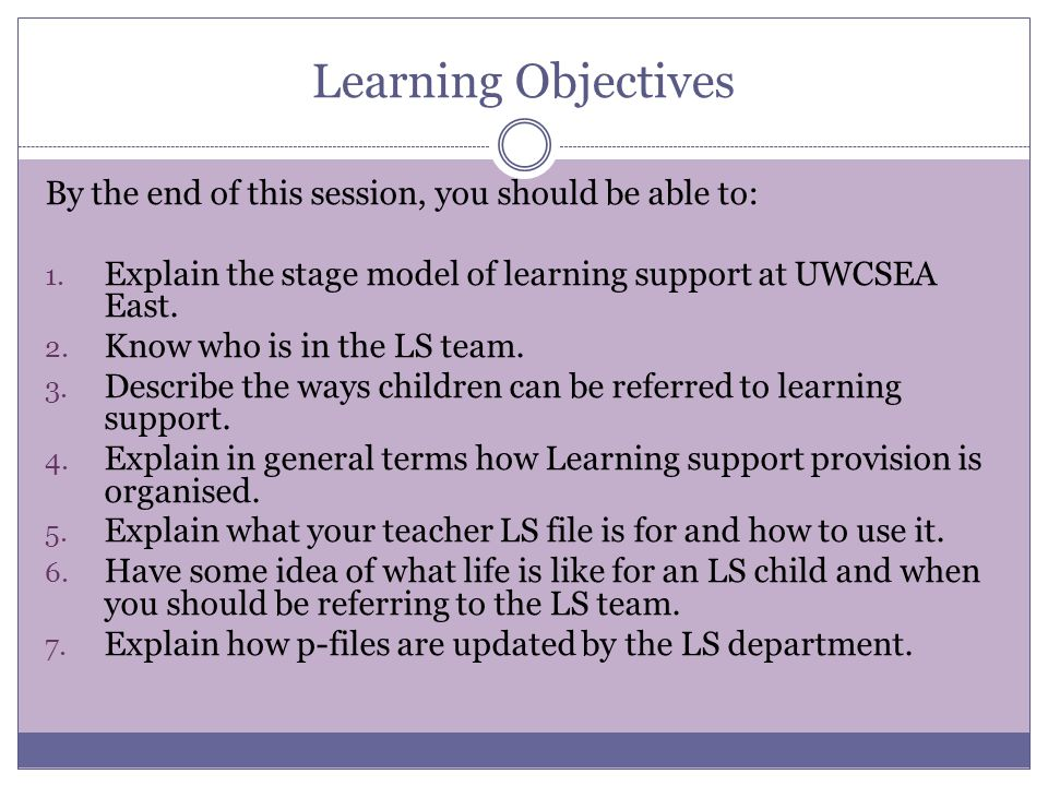 Learning Objectives By the end of this session, you should be able to: