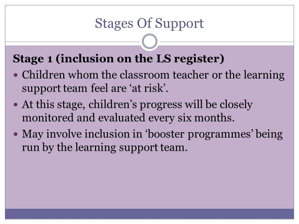 Stages Of Support Stage 1 (inclusion on the LS register)