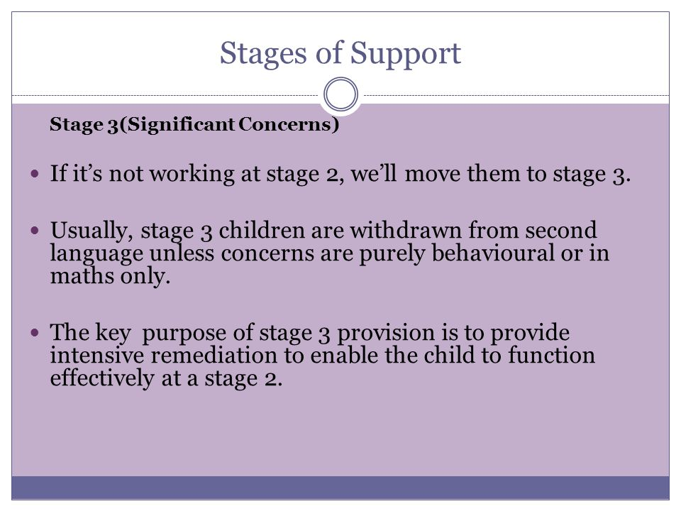 Stages of Support Stage 3(Significant Concerns) If it's not working at stage 2, we'll move them to stage 3.