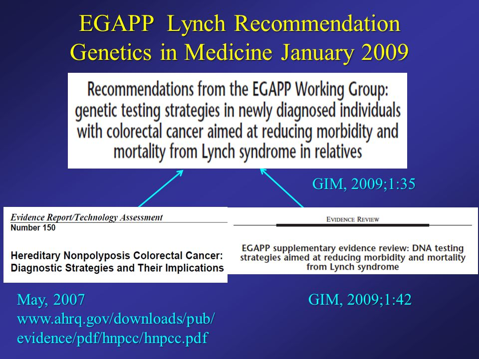 EGAPP Lynch Recommendation Genetics in Medicine January 2009