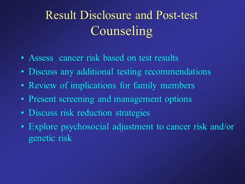 Result Disclosure and Post-test Counseling