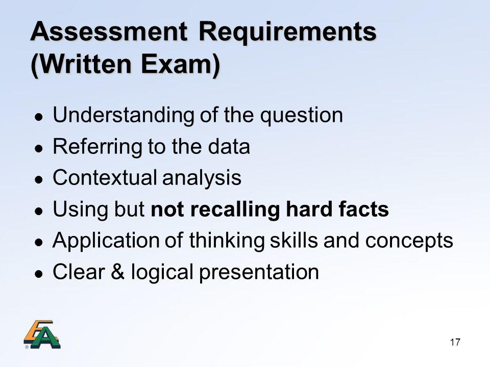 Assessment Requirements (Written Exam)