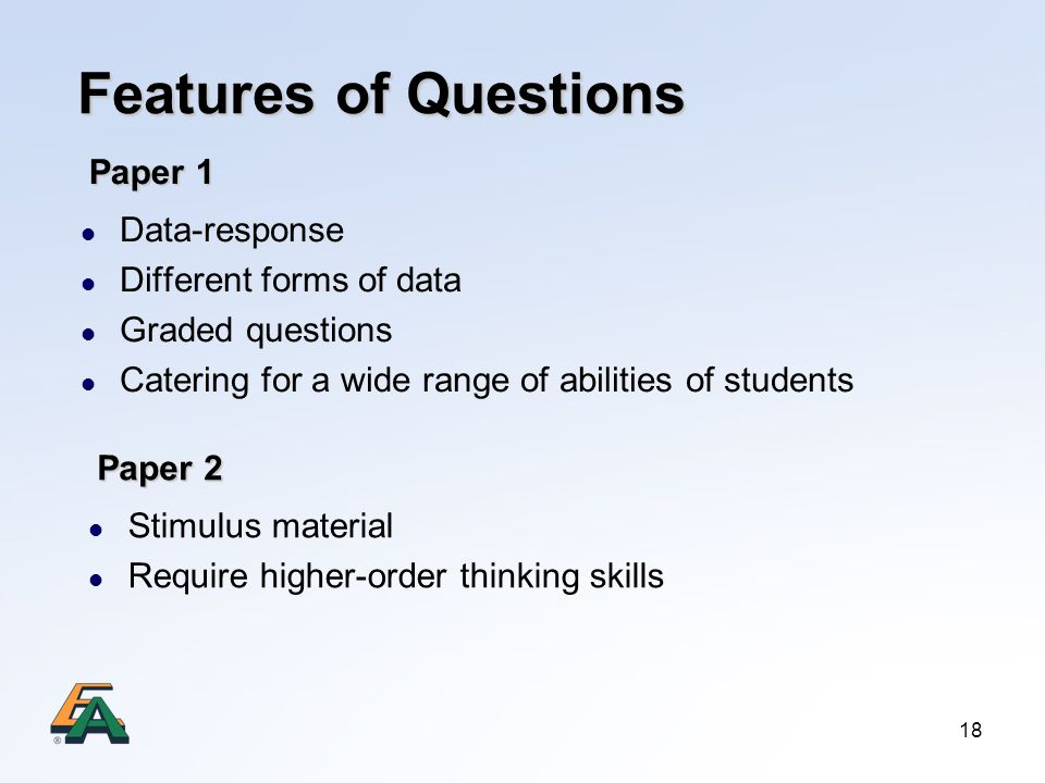 Features of Questions Paper 1 Data-response Different forms of data