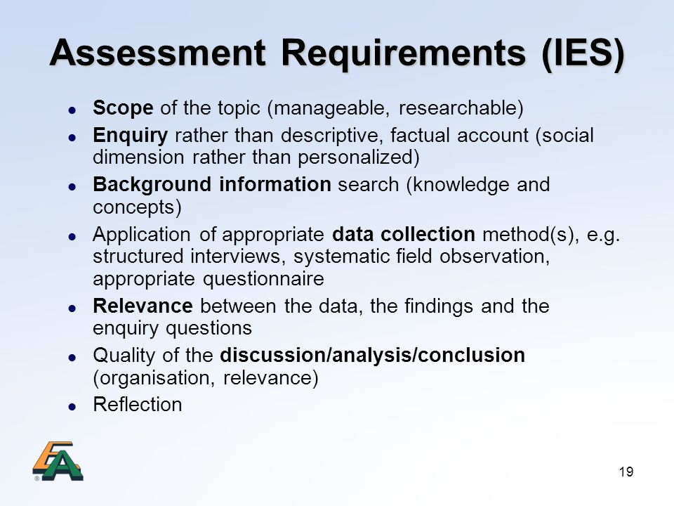 Assessment Requirements (IES)