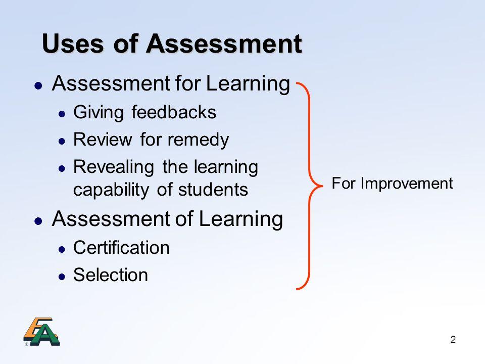 Uses of Assessment Assessment for Learning Assessment of Learning