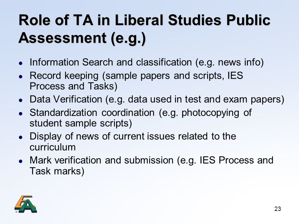 Role of TA in Liberal Studies Public Assessment (e.g.)