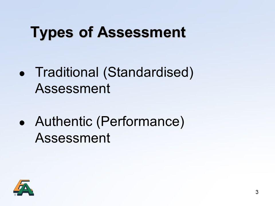Types of Assessment Traditional (Standardised) Assessment