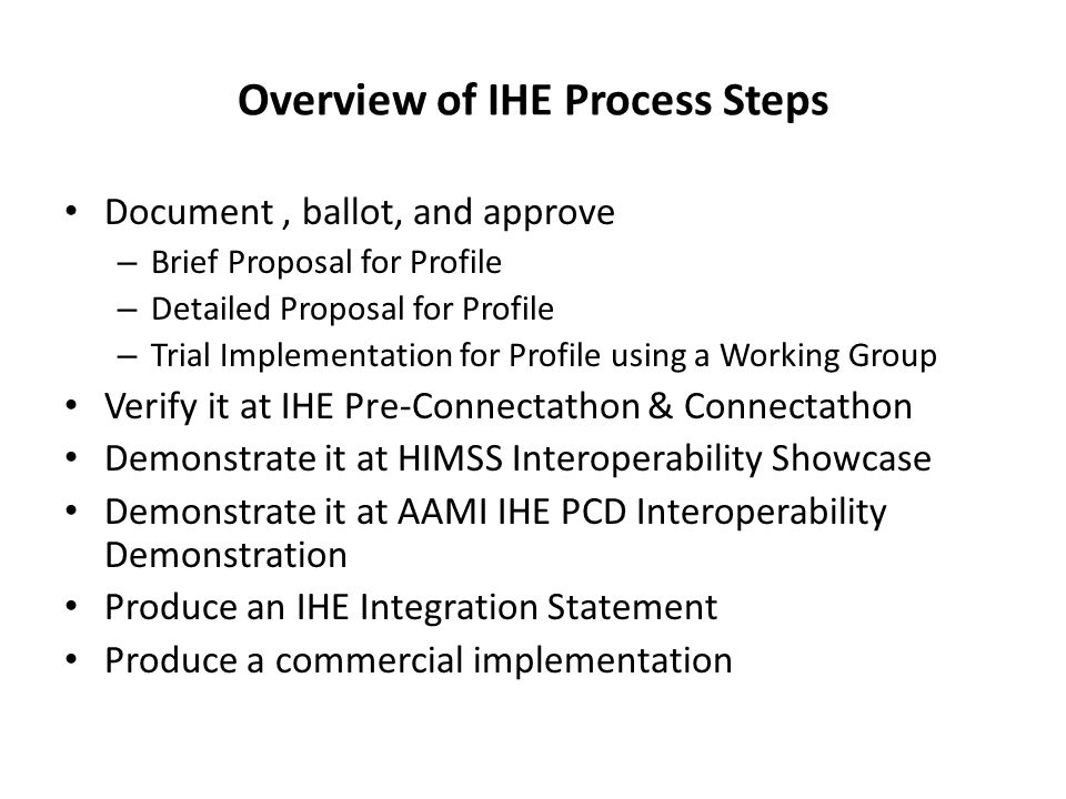Overview of IHE Process Steps