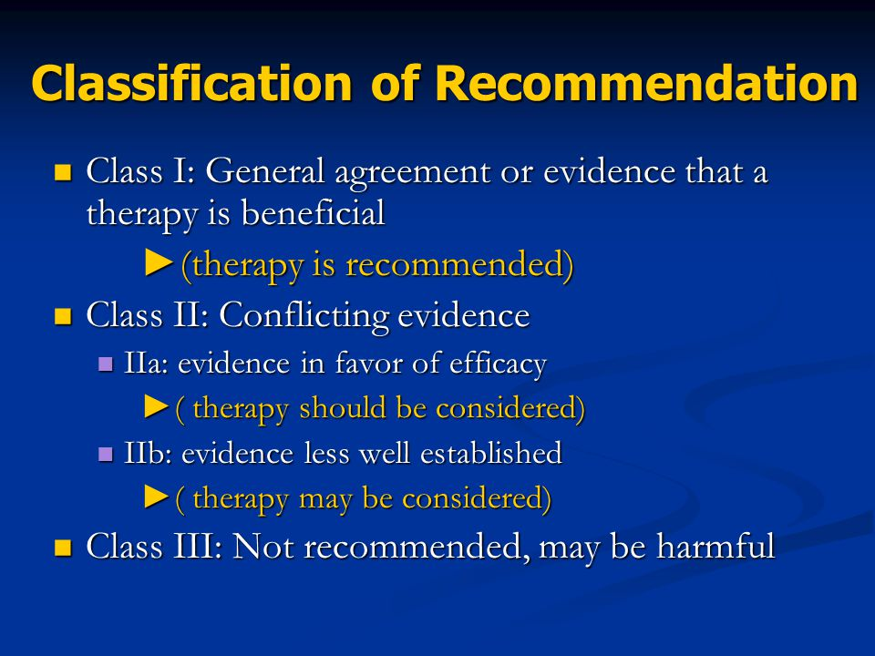 Classification of Recommendation
