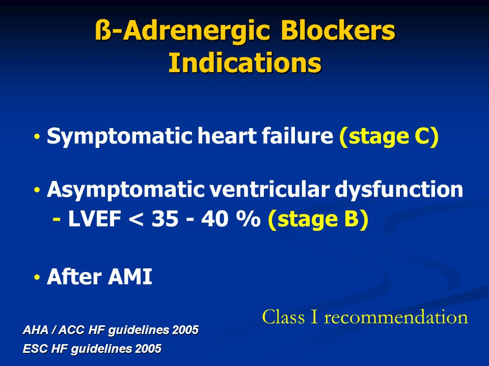 ß-Adrenergic Blockers Indications