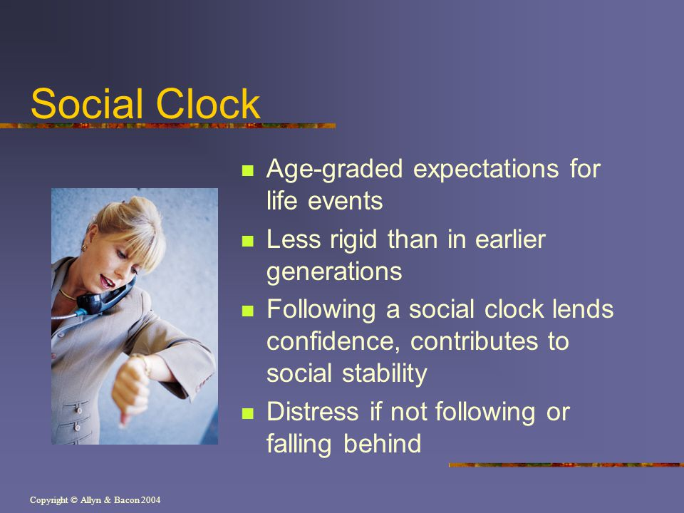 Social Clock Age-graded expectations for life events
