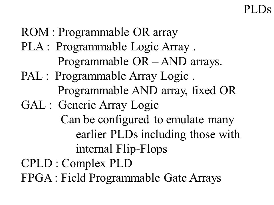 PLDs ROM : Programmable OR array. PLA : Programmable Logic Array . Programmable OR – AND arrays.