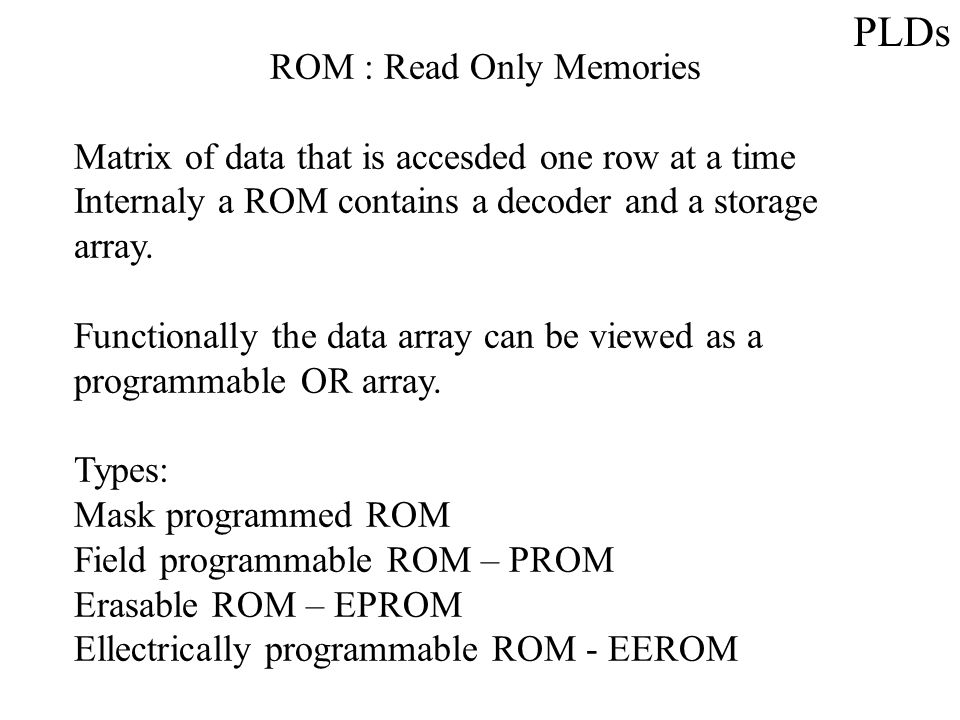 PLDs ROM : Read Only Memories