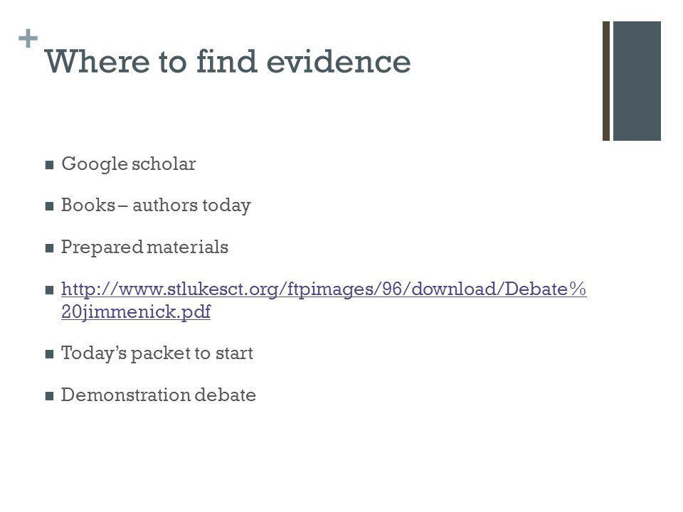 Where to find evidence Google scholar Books – authors today