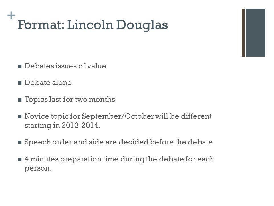 Format: Lincoln Douglas