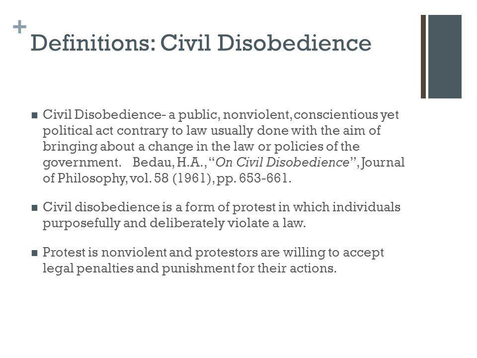 Definitions: Civil Disobedience